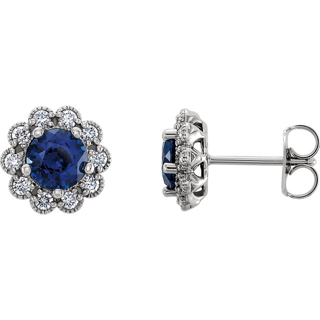 Great Gift in Platinum Blue Sapphire & 0.25 Carat Total Weight Diamond Earrings