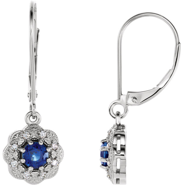 Classic Platinum Round Genuine Blue Sapphire & 1/8 Carat Total Weight Diamond Halo-Style Earrings