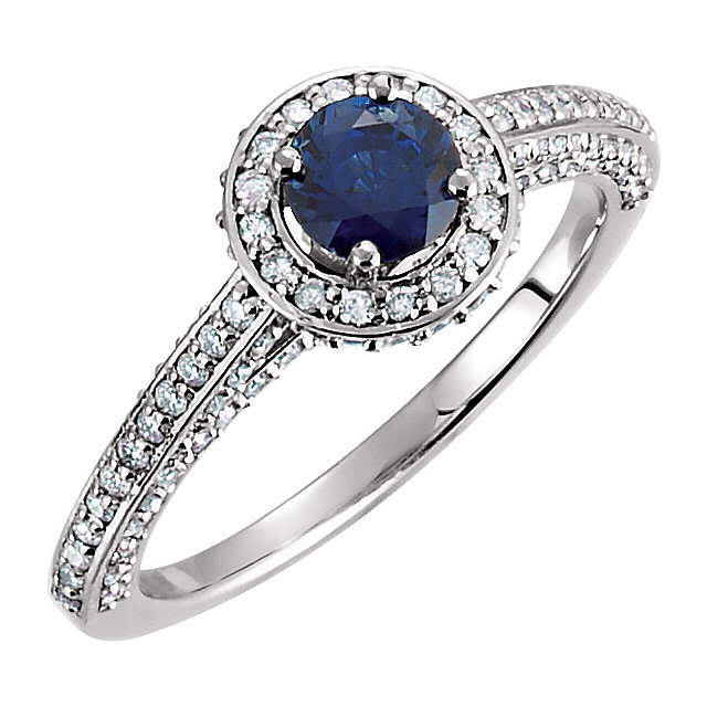 Eye Catching Platinum Round Genuine Blue Sapphire & 5/8 Carat Total Weight Diamond Engagement Ring