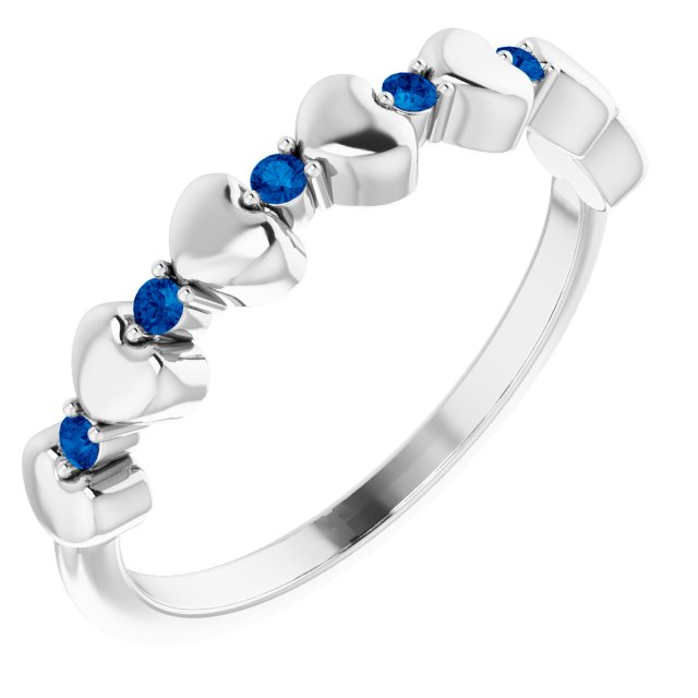 Genuine Sapphire Ring in Platinum Genuine Sapphire Stackable Heart Ring