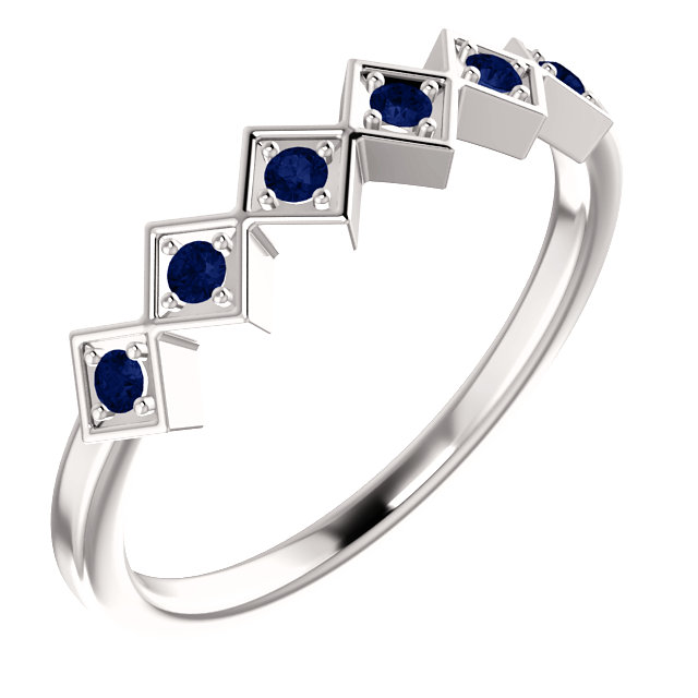 Genuine  Platinum Blue Sapphire Stackable Ring