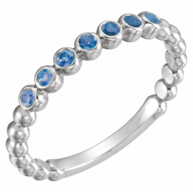 Genuine Sapphire Ring in Platinum Genuine Sapphire Stackable Ring