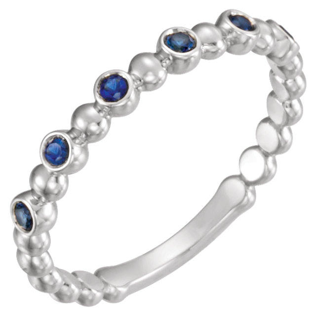 Very Nice Platinum Blue Sapphire Stackable Ring