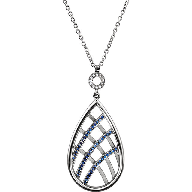 Appealing Jewelry in Platinum Blue & White Sapphire 18