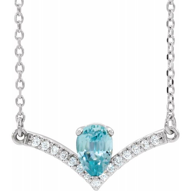 Genuine Zircon Necklace in Platinum Genuine Zircon & .06 Carat Diamond 18