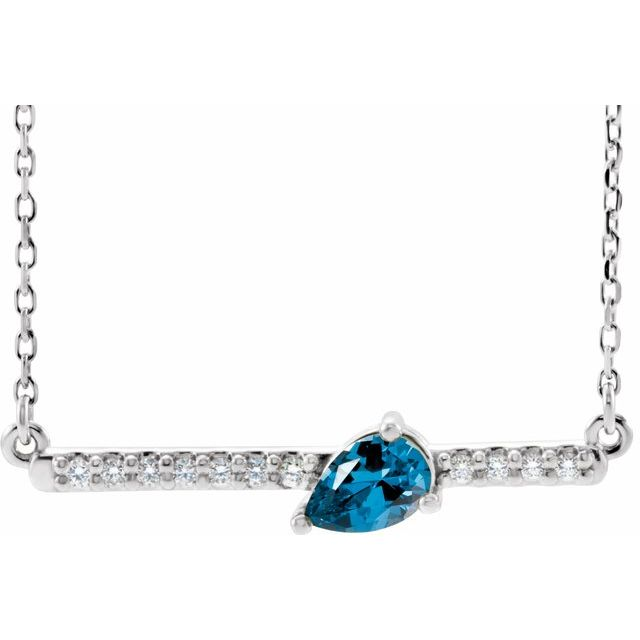 Genuine Zircon Necklace in Platinum Genuine Zircon & 1/10 Carat Diamond 18