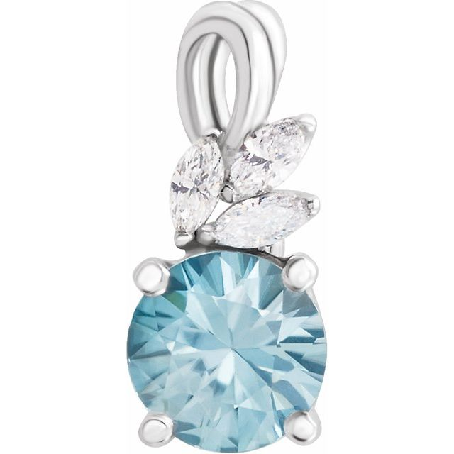 Genuine Zircon Pendant in Platinum Genuine Zircon & 1/10 Carat Diamond Pendant