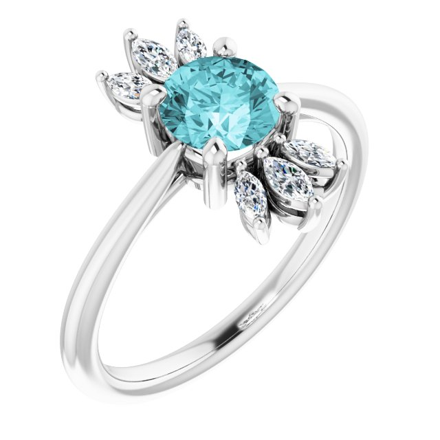 Genuine Zircon Ring in Platinum Genuine Zircon & 1/4 Carat Diamond Ring
