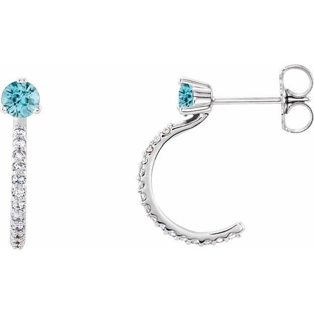 Genuine Zircon Earrings in Platinum Genuine Zircon & 1/6 Carat Diamond Hoop Earrings