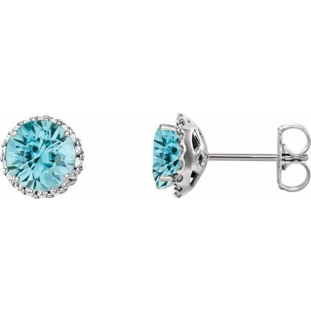 Genuine Zircon Earrings in Platinum Genuine Zircon & 1/8 Carat Diamond Earrings