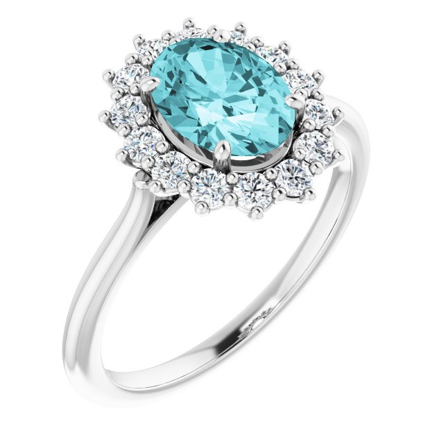 Genuine Zircon Ring in Platinum Genuine Zircon & 3/8 Carat Diamond Ring