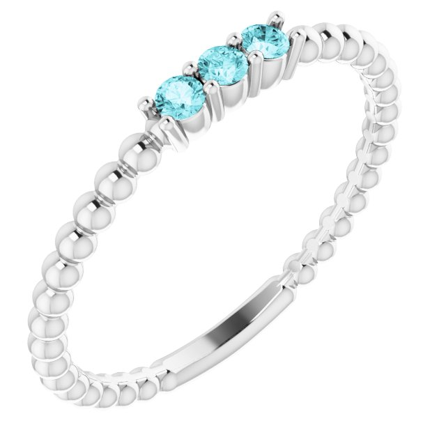Genuine Zircon Ring in Platinum Genuine Zircon Beaded Ring