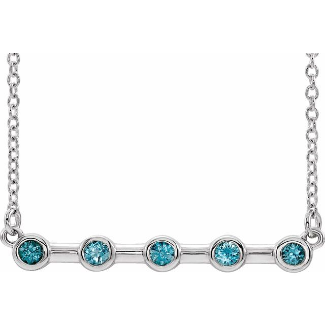 Genuine Zircon Necklace in Platinum Genuine Zircon Bezel-Set Bar 16