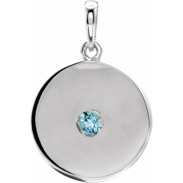 Genuine Zircon Pendant in Platinum Genuine Zircon Disc Pendant