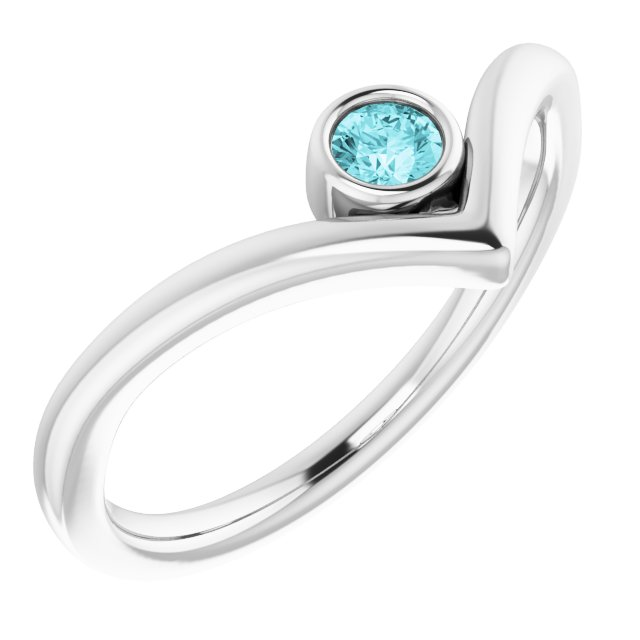 Genuine Zircon Ring in Platinum Genuine Zircon Solitaire Bezel-Set