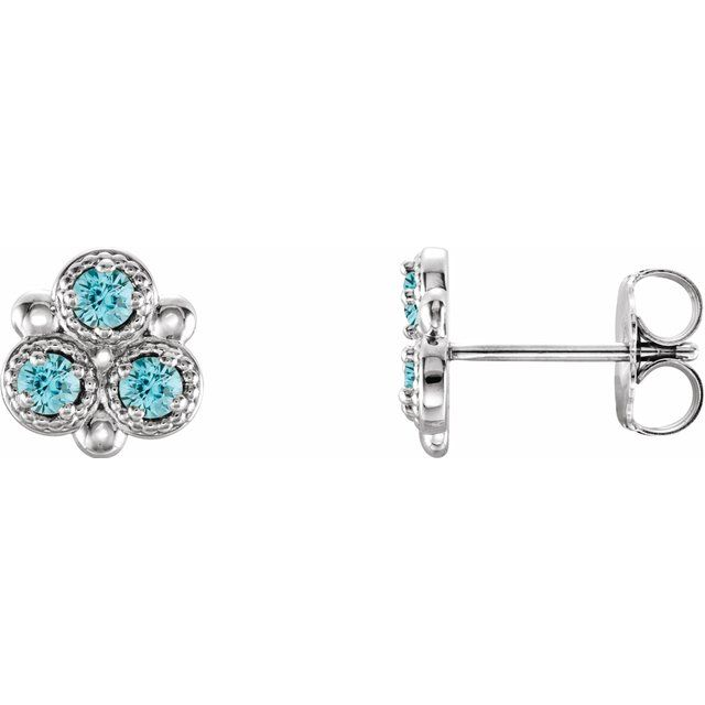 Genuine Zircon Earrings in Platinum Genuine Zircon Three-Stone Earrings