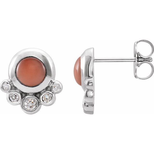 Pink Coral Earrings in Platinum Cabochon Pink Coral & 1/8 Carat Diamond Earrings