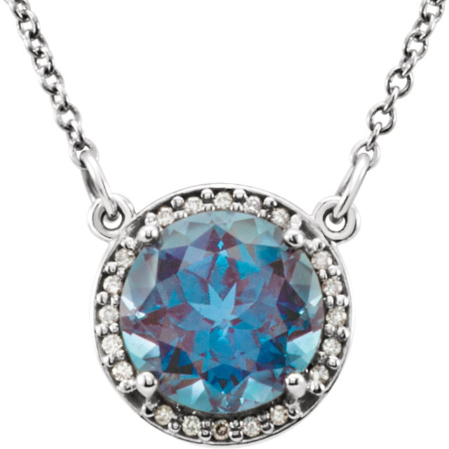 Perfect Gift Idea in Platinum 6mm Round Genuine Chatham Created Created Alexandrite & .04 Carat Total Weight Diamond 16