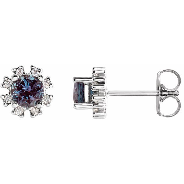 Color Change Created Alexandrite Earrings in Platinum Chatham Created Alexandrite & .07 Carat Diamond Earrings