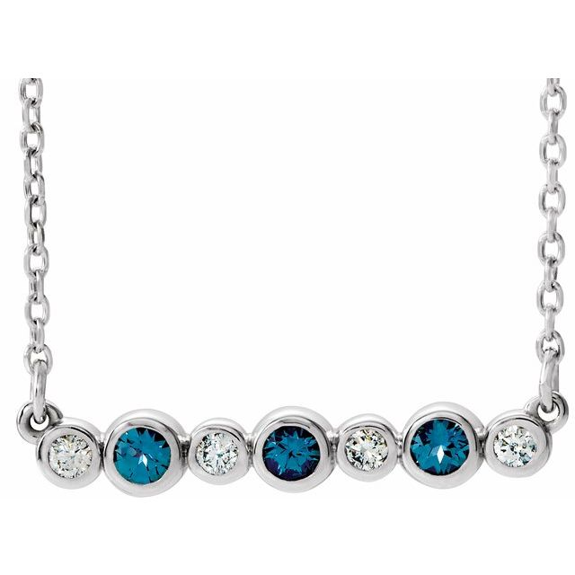 Chatham Created Alexandrite Necklace in Platinum Chatham Created Alexandrite & .08 Carat Diamond Bezel-Set Bar 16-18
