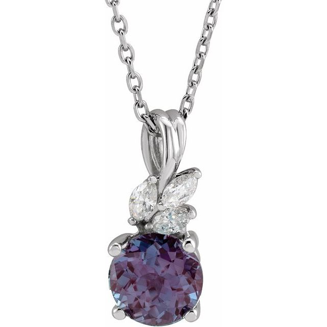 Chatham Created Alexandrite Necklace in Platinum Chatham Created Alexandrite & 1/10 Carat Diamond 16-18