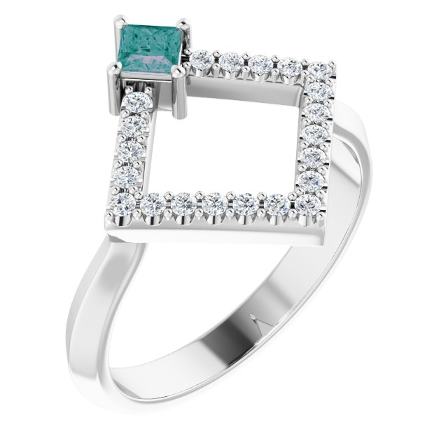 Chatham Created Alexandrite Ring in Platinum Chatham Created Alexandrite & 1/5 Carat Diamond Geometric Ring