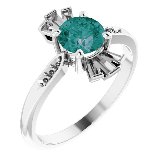 Color Change Created Alexandrite Ring in Platinum Chatham Created Alexandrite & 1/6 Carat Diamond Ring