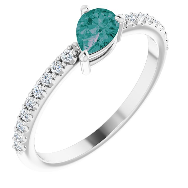 Chatham Created Alexandrite Ring in Platinum Chatham Created Alexandrite & 1/6 Carat Diamond Ring