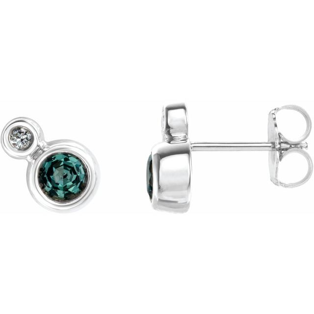 Color Change Chatham  Alexandrite Earrings in Platinum Chatham  Alexandrite & 1/8 Carat Diamond Earrings