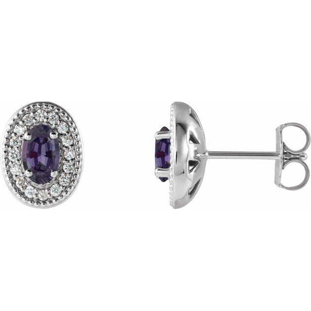 Color Change Chatham  Alexandrite Earrings in Platinum Chatham  Alexandrite & 1/8 Carat Diamond Halo-Style Earrings