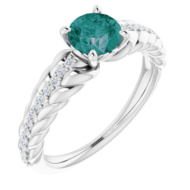 Chatham Created Alexandrite Ring in Platinum Chatham Created Alexandrite & 1/8 Carat Diamond Ring