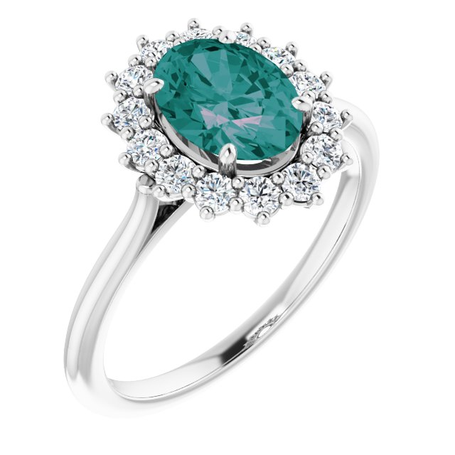 Chatham Created Alexandrite Ring in Platinum Chatham Created Alexandrite & 3/8 Carat Diamond Ring