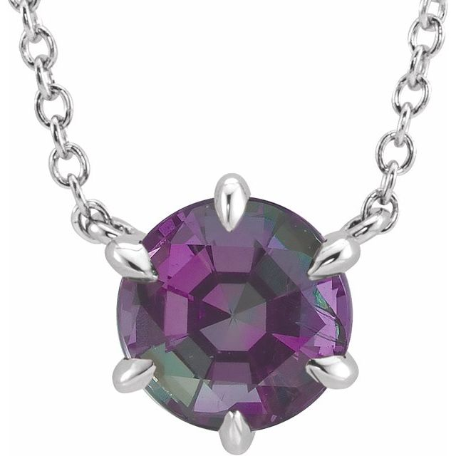 Created Alexandrite Necklace in Platinum Chatham Created Alexandrite Solitaire 16