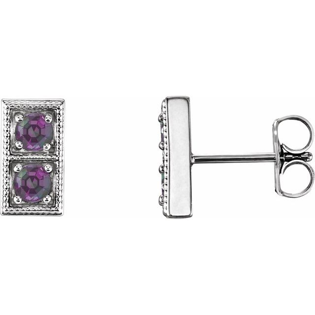 Color Change Chatham  Alexandrite Earrings in Platinum Chatham  AlexandriteTwo-Stone Earrings