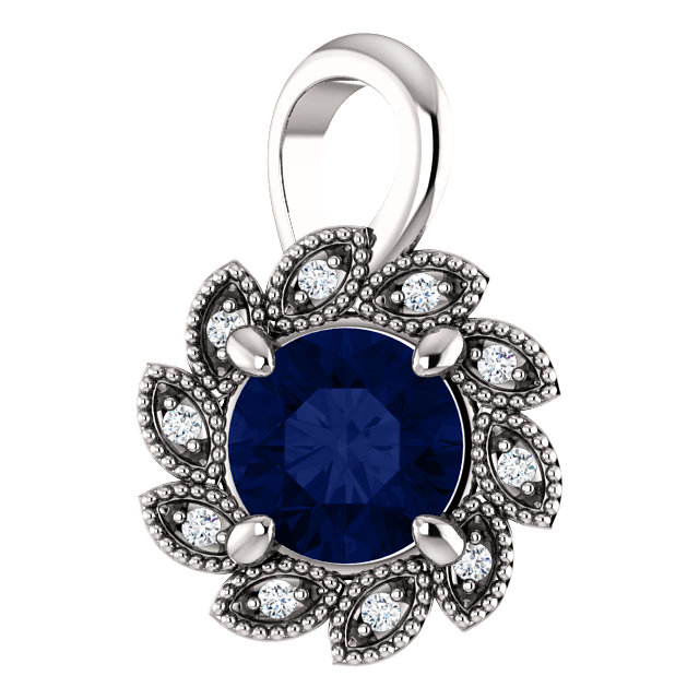 Appealing Jewelry in Platinum Genuine Chatham Created Created Blue Sapphire & .04 Carat Total Weight Diamond Pendant