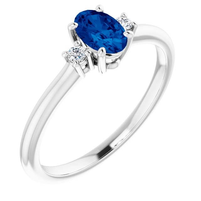 Chatham Created Sapphire Ring in Platinum Chatham Created Genuine Sapphire & .04 Carat Diamond Ring