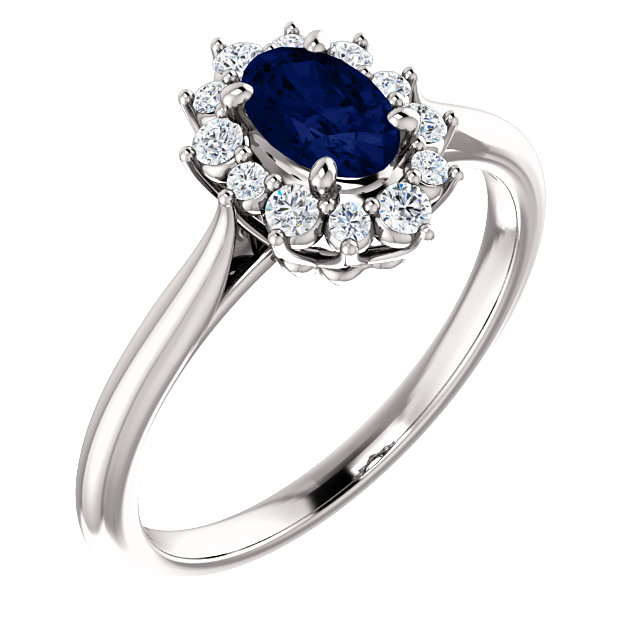 Very Nice Platinum Genuine Chatham Created Created Blue Sapphire & 0.17 Carat Total Weight Diamond Ring