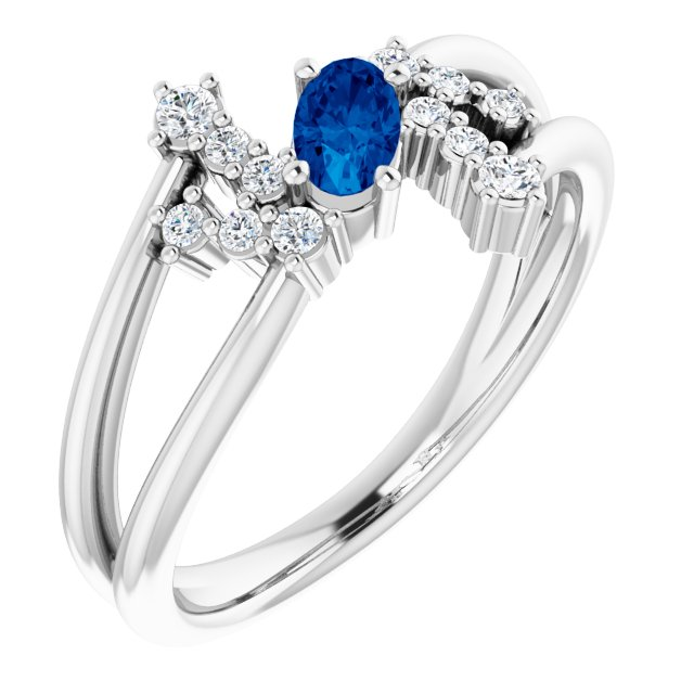 Chatham Created Sapphire Ring in Platinum Chatham Created Genuine Sapphire & 1/8 Carat Diamond Bypass Ring