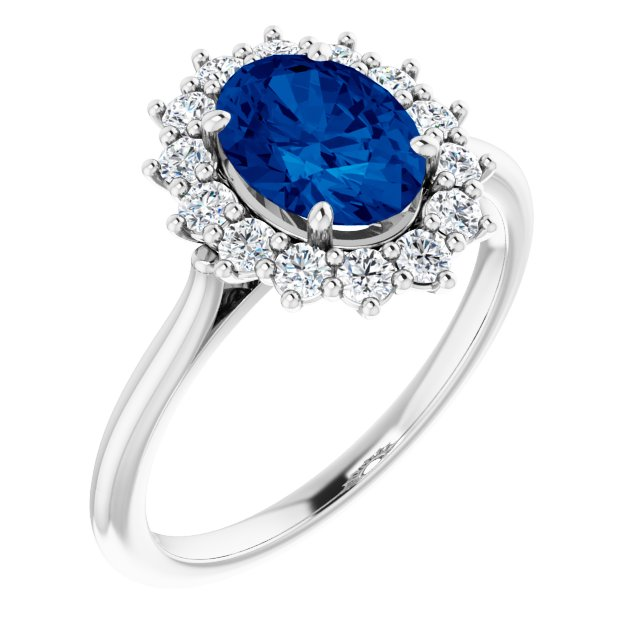 Chatham Created Sapphire Ring in Platinum Chatham Created Genuine Sapphire & 3/8 Carat Diamond Ring