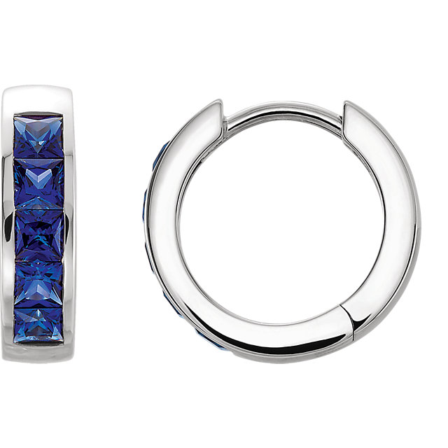 Chic Platinum Chatham Created Square Genuine Blue Sapphire Hoop Earrings