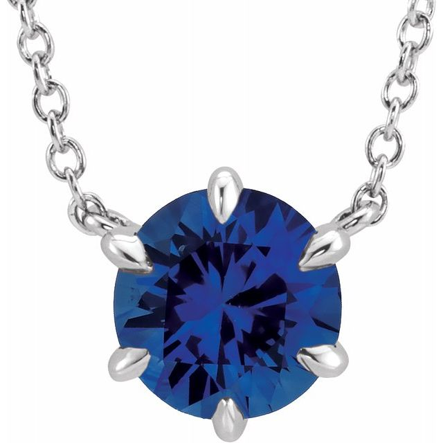 Created Sapphire Necklace in Platinum Chatham Created  Sapphire Solitaire 16