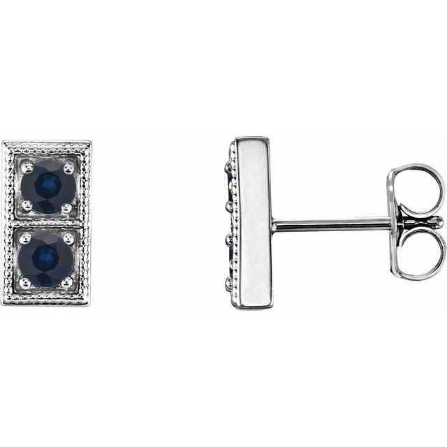 Genuine Chatham Created Sapphire Earrings in Platinum Chatham Created Genuine SapphireTwo-Stone Earrings