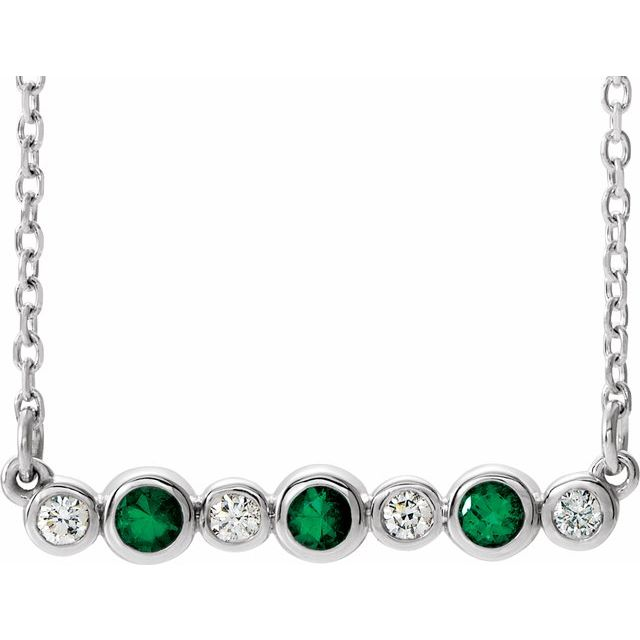 Genuine Chatham Created Emerald Necklace in Platinum Chatham Created Emerald & .08 Carat Diamond Bezel-Set Bar 16-18
