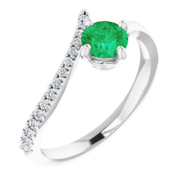 Chatham Created Emerald Ring in Platinum Chatham Created Emerald & 1/10 Carat Diamond Bypass Ring