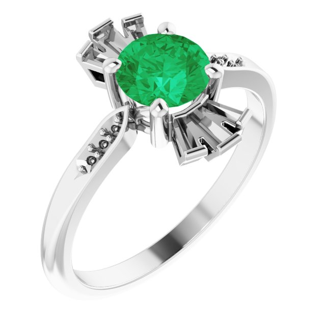 Chatham Created Emerald Ring in Platinum Chatham Created Emerald & 1/6 Carat Diamond Ring