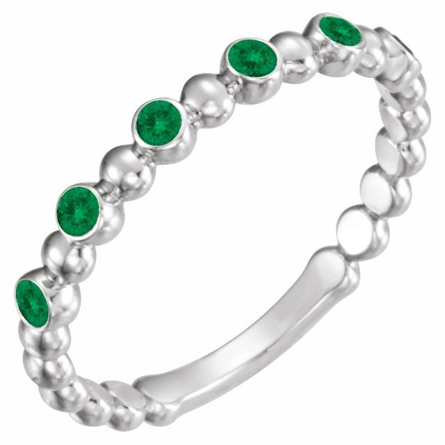 Chatham Created Emerald Ring in Platinum Chatham Created Emerald Stackable Ring