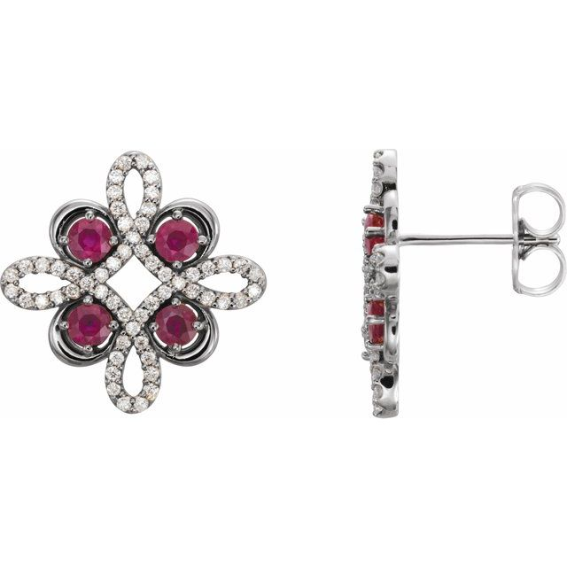 Chatham Created Ruby Earrings in Platinum Chatham Created Ruby & 1/4 Carat Diamond Earrings