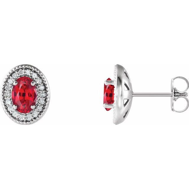 Chatham Created Ruby Earrings in Platinum Chatham Created Ruby & 1/5 Carat Diamond Halo-Style Earrings
