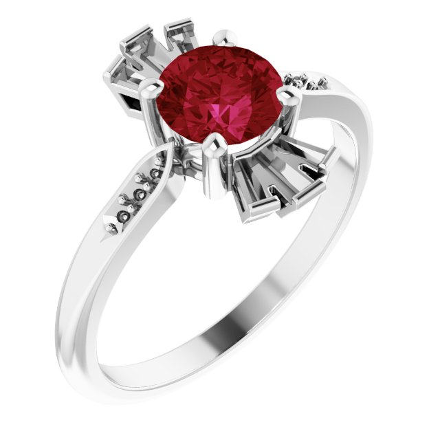 Created Ruby Ring in Platinum Chatham Created Ruby & 1/6 Carat Diamond Ring