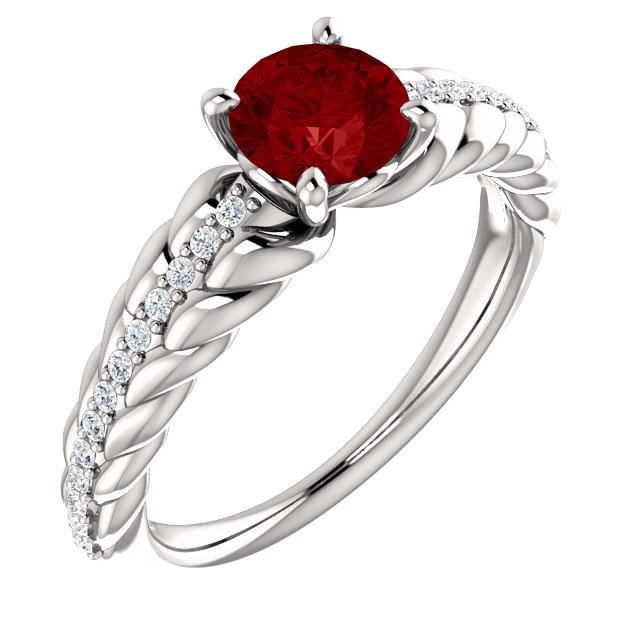 Platinum Genuine Chatham Ruby & 0.12 Carat Diamond Ring